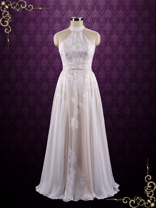 Boho Halter Lace Chiffon Wedding Dress | Azalea