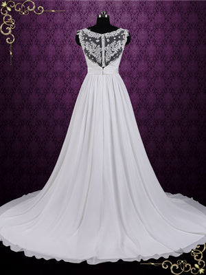 Boho Style Lace Chiffon Wedding Dress | Irina