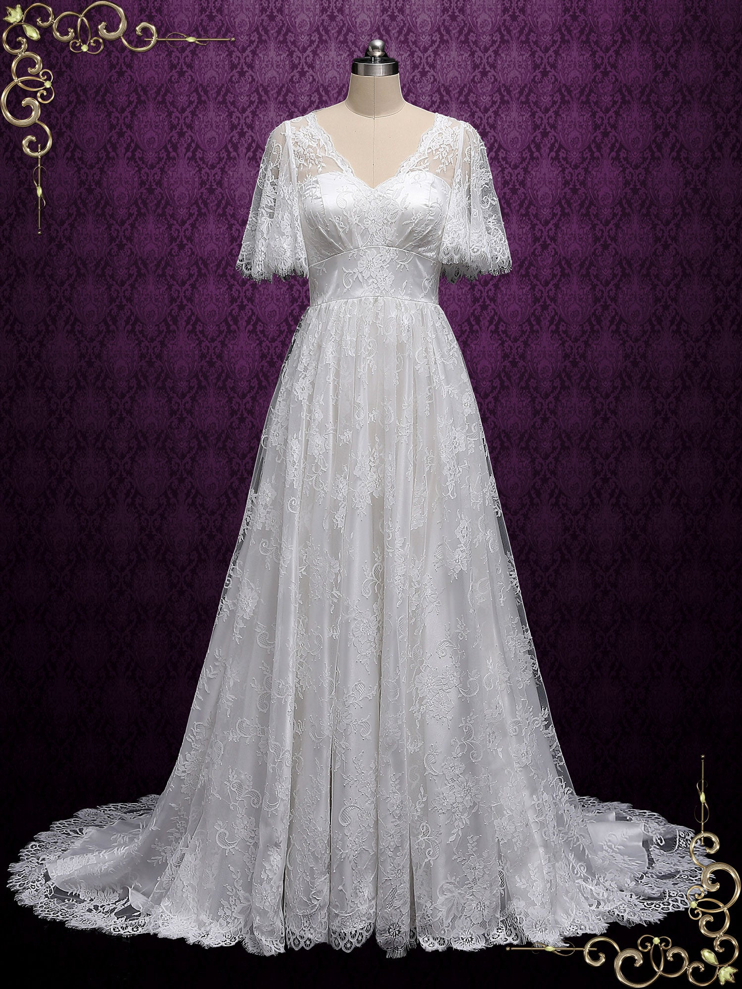 Romantic Boho Lace Wedding Dress with Butterfly Sleeves MILANA