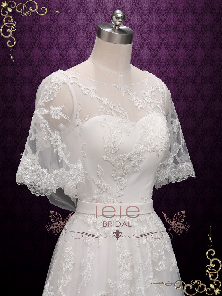 Boho Lace Wedding Dress with Butterfly Sleeves | Melodie