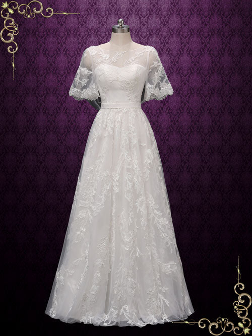 Boho Lace Wedding Dress With Butterfly Sleeves Melodie Ieie