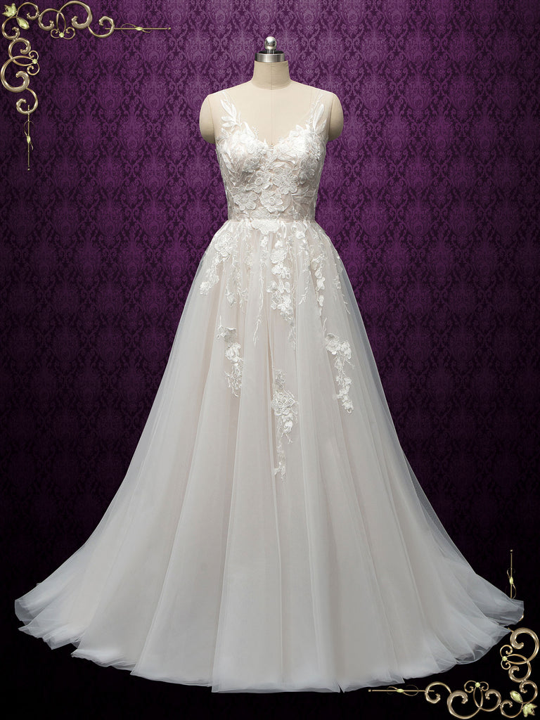 Romantic Lace Tulle Wedding Dress LYNETTE