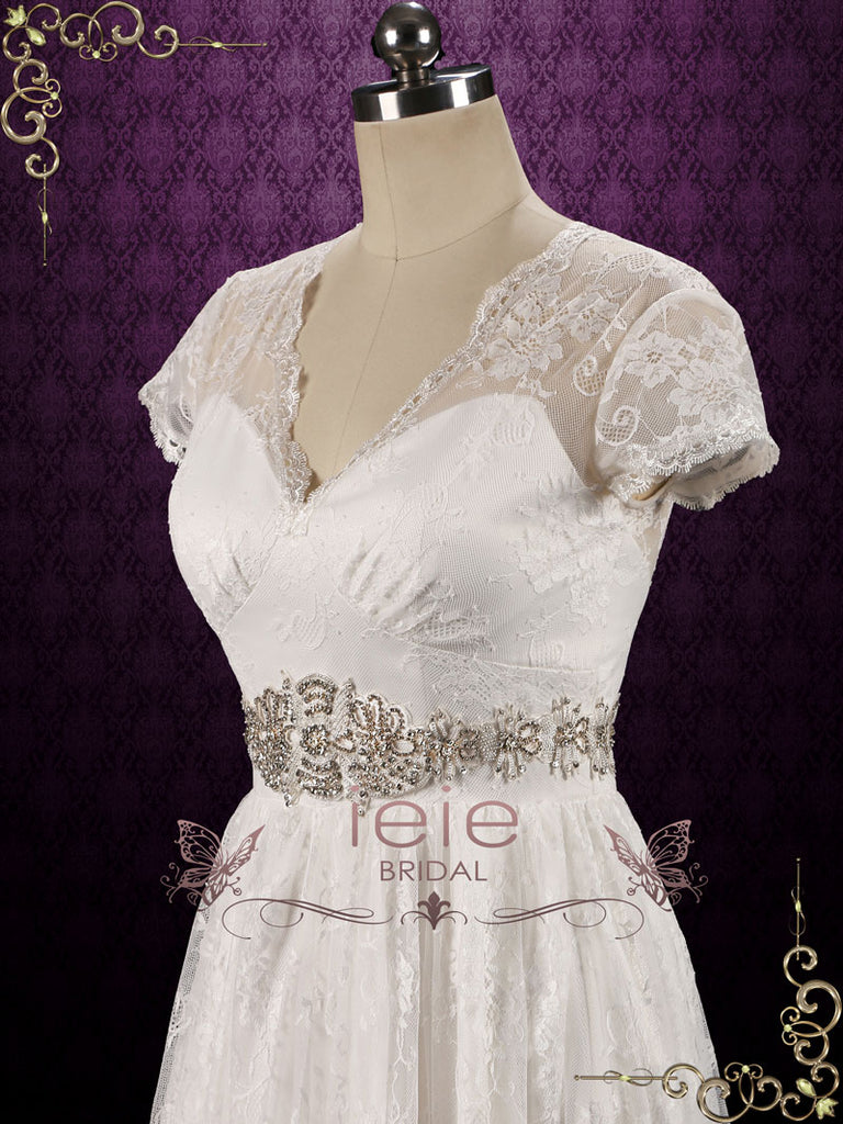 Boho Vintage Style Lace Wedding Dress with Short Sleeves CHELSEA