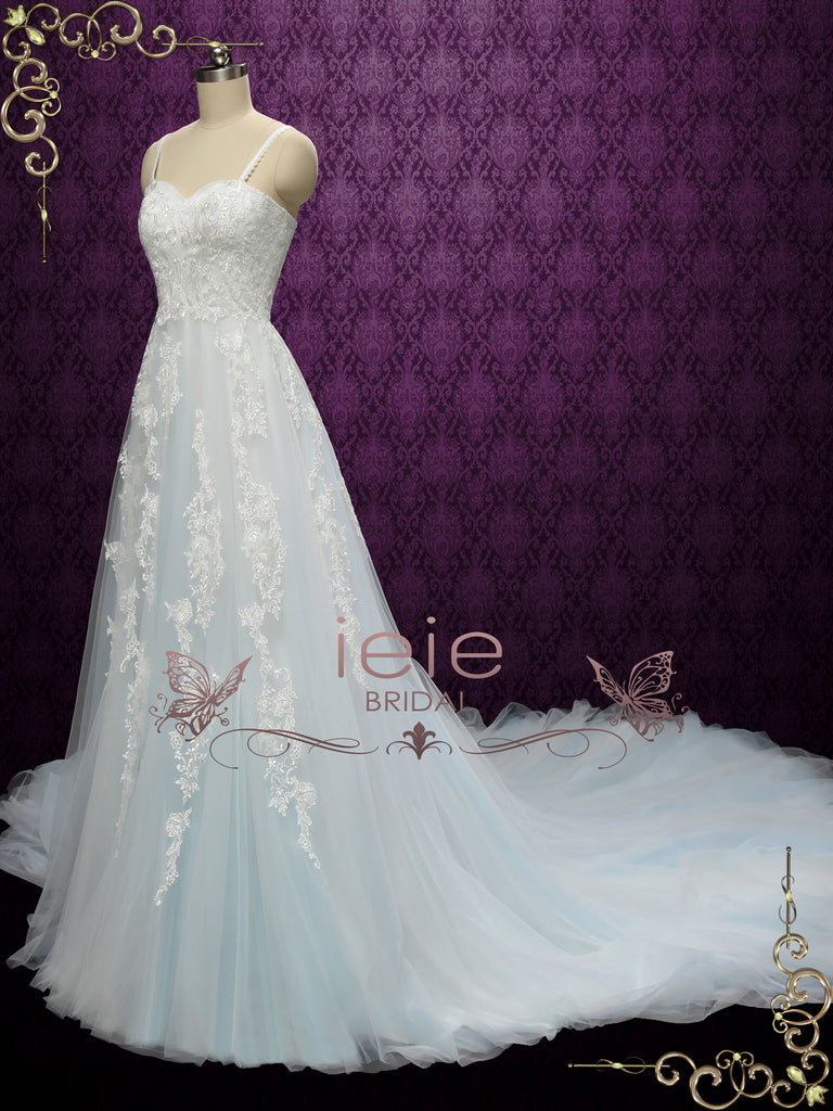 Boho Light Blue Lace Wedding Dress | SAFFERN