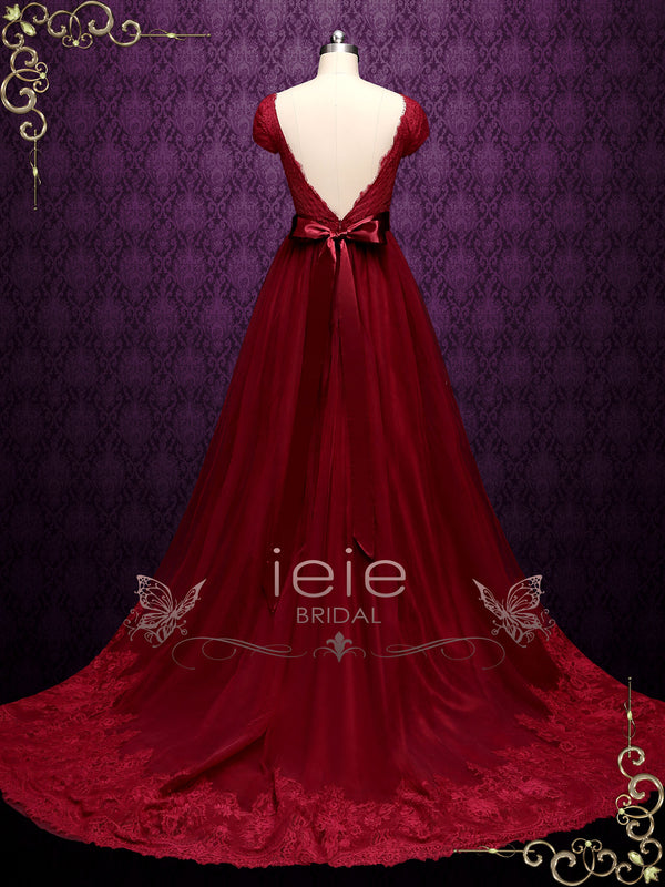 Burgundy Lace A-line Wedding Dress with Short Sleeves | LINDEN