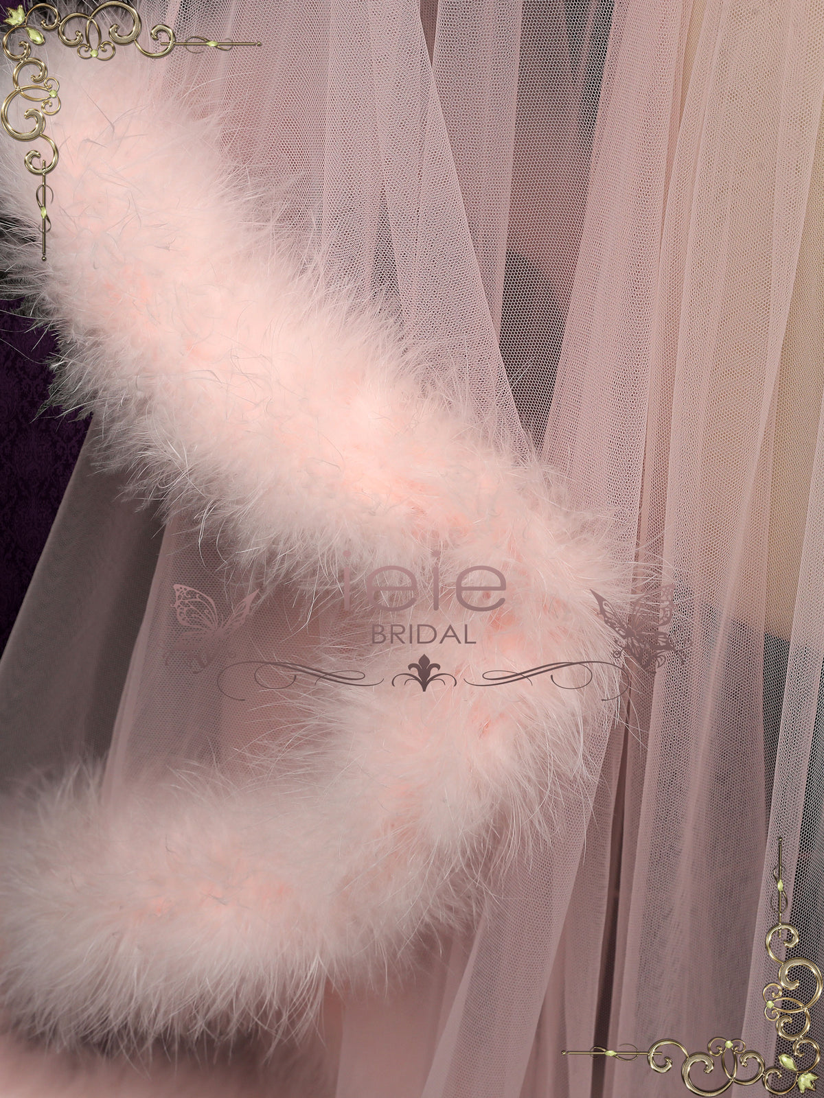 Blush Honeymoon Wedding Marabou Fur Edge Boudoir Robe | GIGI
