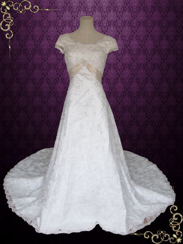 Modest Lace Overlay A-line Wedding Dress with Cap Sleeves