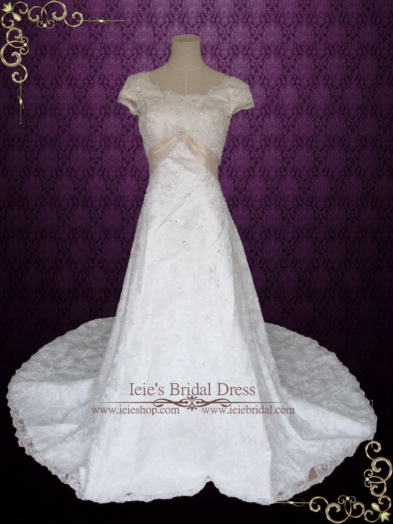 Modest Lace Overlay A Line Wedding Dress With Cap Sleeves