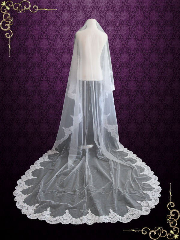 Cathedral Length Lace Mantilla Wedding Bridal Veil 118''
