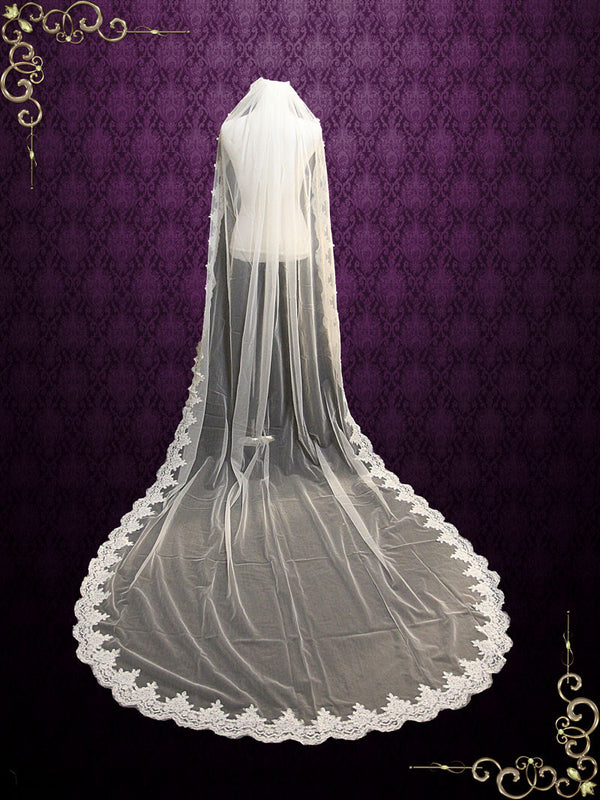 Cathedral Length Lace Wedding Veil Gathered at Top | VG1050
