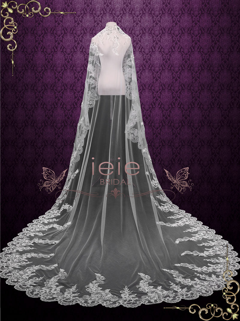 Cathedral Length Wedding Veil with Sequined Lace | VG1093