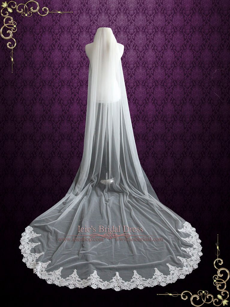 Cathedral Length Soft Tulle Wedding Veil with Laces at the End