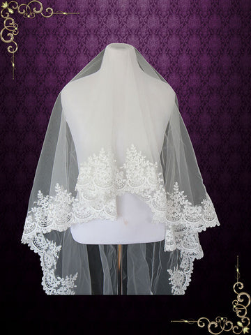 Cathedral Length Lace Mantilla Wedding Bridal Veil 118'' | VG1019