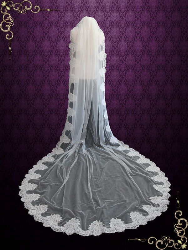 Cathedral Length French Alencon Lace Wedding Veil