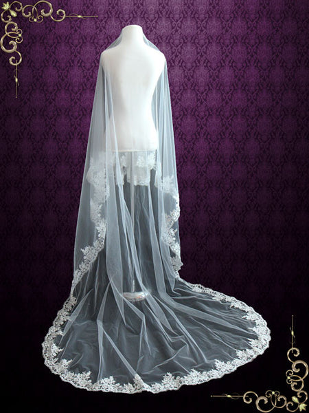 Cathedral Length Mantilla Veil with Floral Lace Edge | VG1078