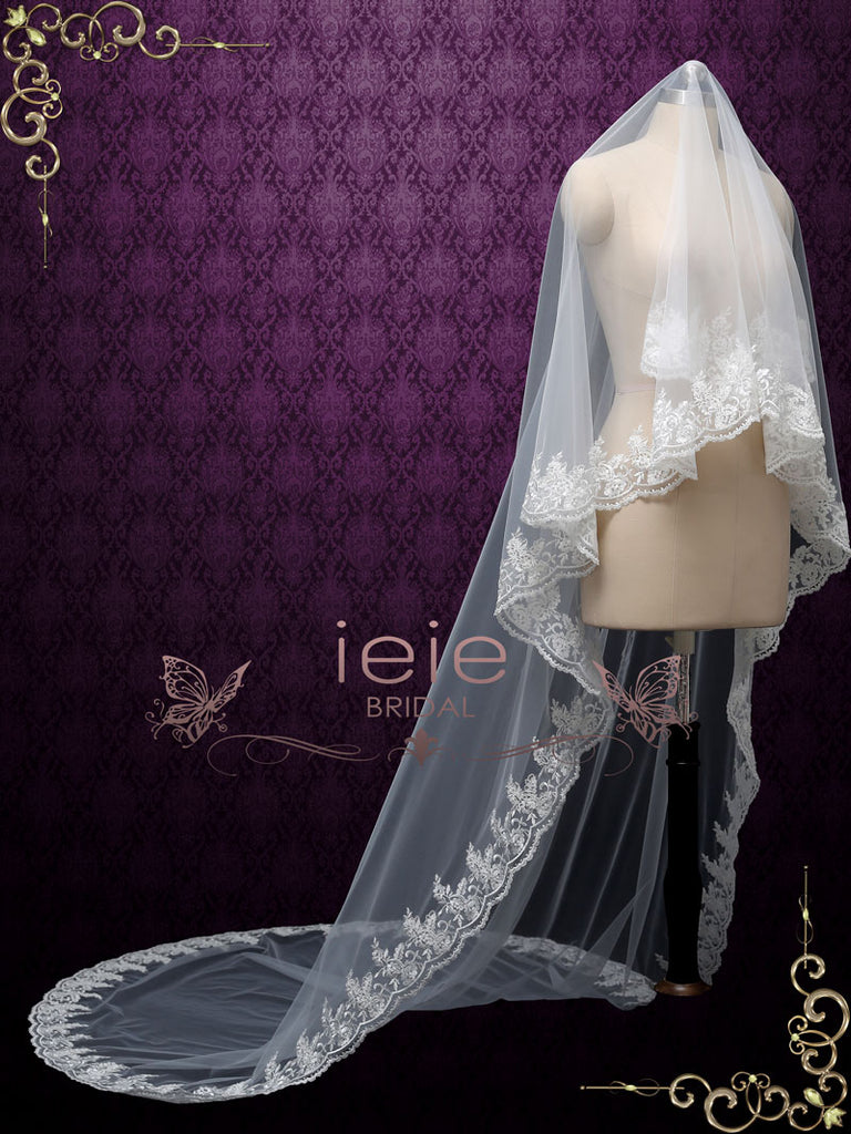Ivory Cathedral Length Floral Lace Wedding Mantilla Veil