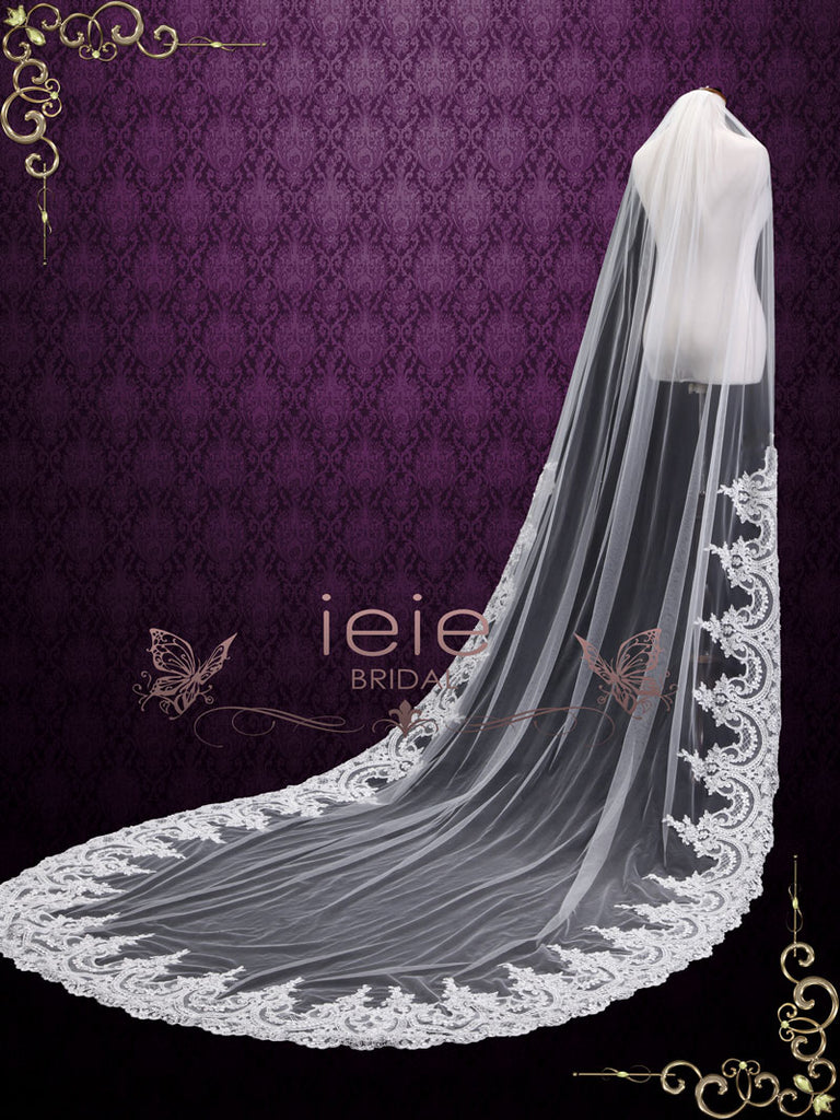 Cathedral Length Wedding Veil with Wide Lace from Midway VG1096