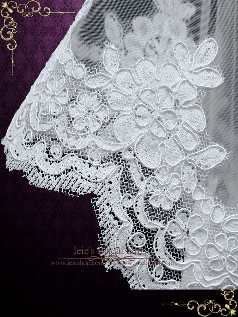 Chapel Length Wedding Veil with Lace Starting from midway