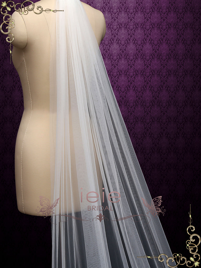 Long Lace Wedding Veil with Floral Applique at Bottom VG2022