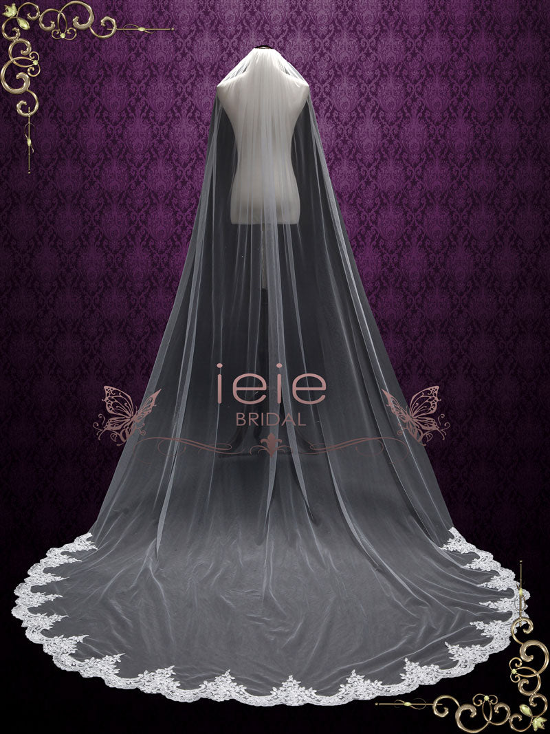 Cathedral Length Wedding Veil with Lace at the Hem | VG2006