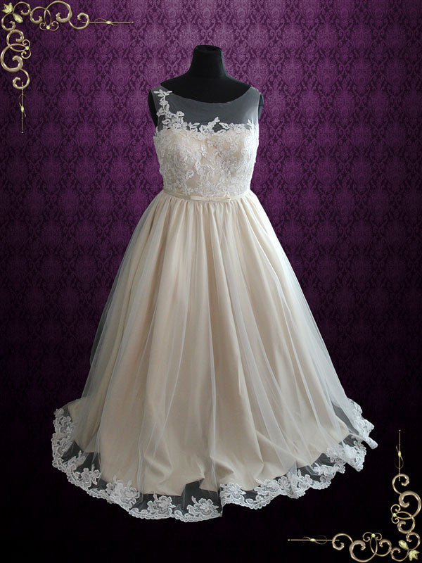 Plus Size Ball Gown Lace Wedding Dress with Illusion Neckline | Kara ...