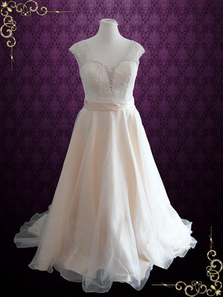 Organza Lace Wedding Dress with Cap Sleeves | Tracie