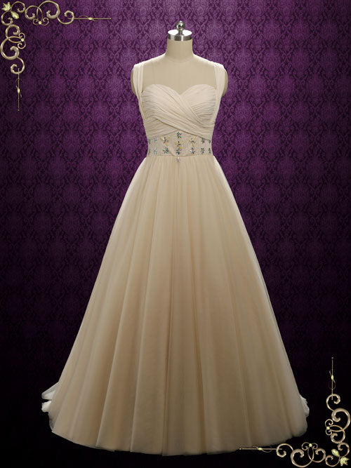 Champagne Tulle Formal Pageant Evening Dress
