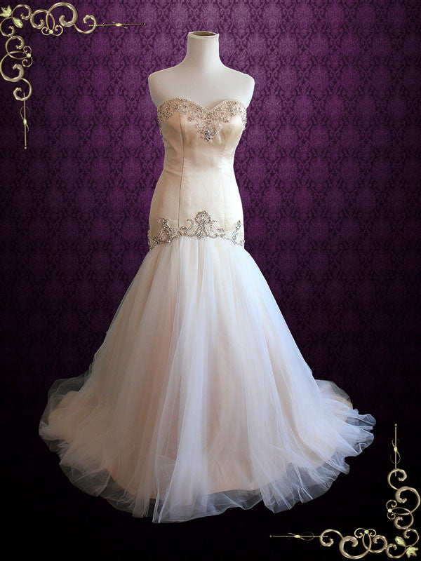 Strapless Sweetheart Champagne Fit and Flare Tulle Wedding Dress