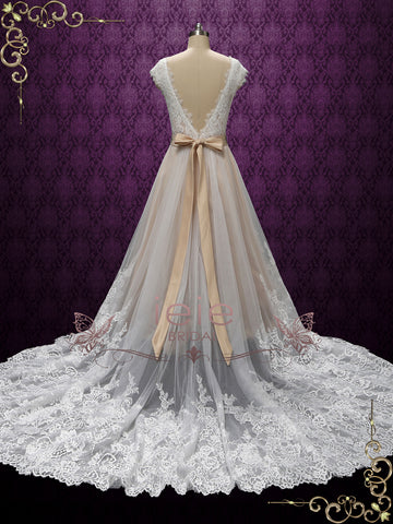 Vintage Champagne Lace Wedding Dress | ARDEN