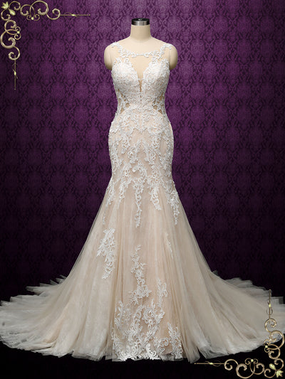 Champagne Fit and Flare Lace Wedding Dress | JULIAN