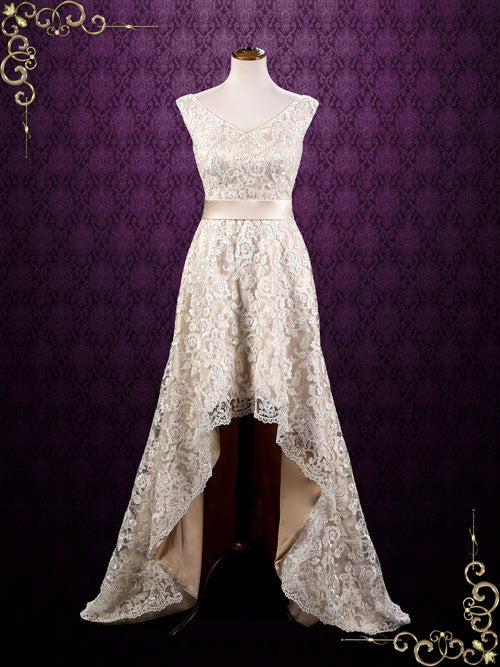Champagne Lace Hi-Low Wedding Dress | Kristi