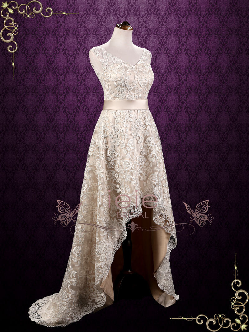 Lace Hi-Low Wedding Dress | Kristi – ieie