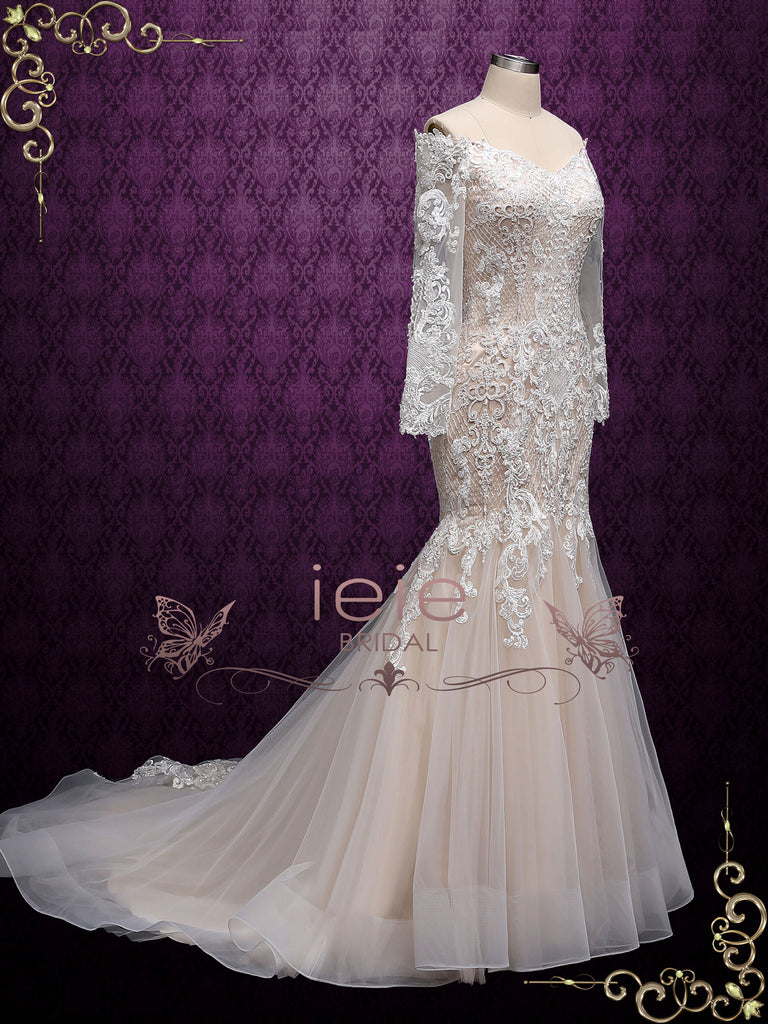 Champagne Lace Wedding Dress with Off the Shoulder Sleeves  ALVA