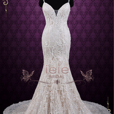 Champagne Mermaid Lace Wedding Dress with Open Back | Zoya