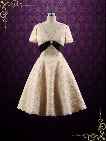Retro Vintage Style Modest Tea Length Wedding Dress with short sleeves