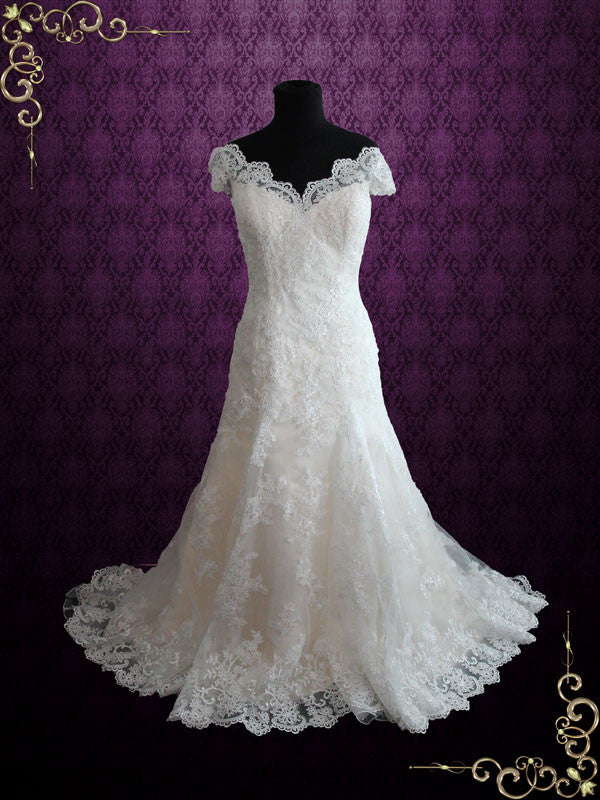 Fit and Flare Champagne Lace Wedding Dress with Cap Sleeves