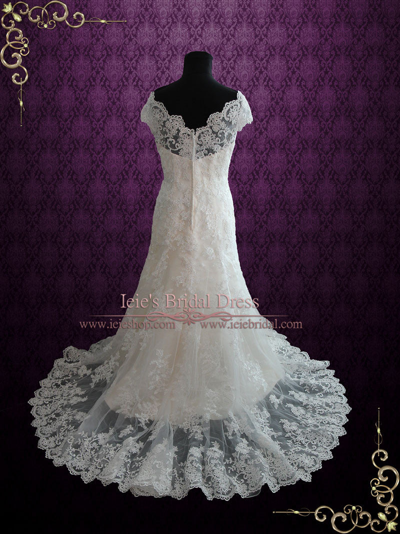 Fit And Flare Lace Wedding Dress With Cap Sleeves Ieie