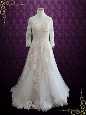 Champagne Lace Wedding Dress with Long Sleeves | Tenisha