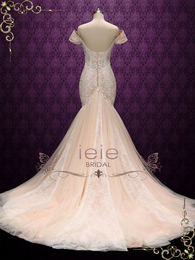 Champagne Off Shoulder Lace Mermaid Wedding Dress | TEAH