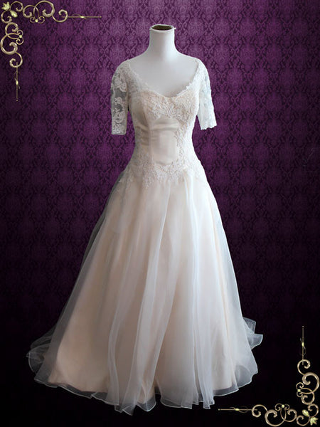 Organza Lace Ball Gown Wedding Dress with Short Sleeves | Erika