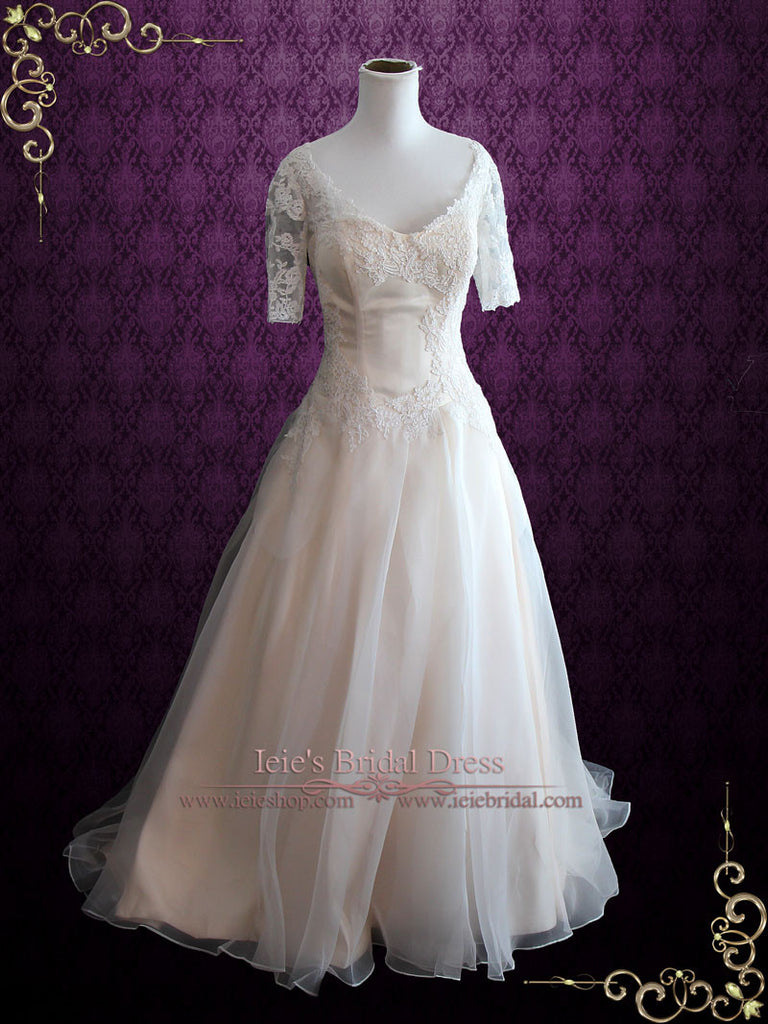Plus Size Champagne Organza Wedding Dress