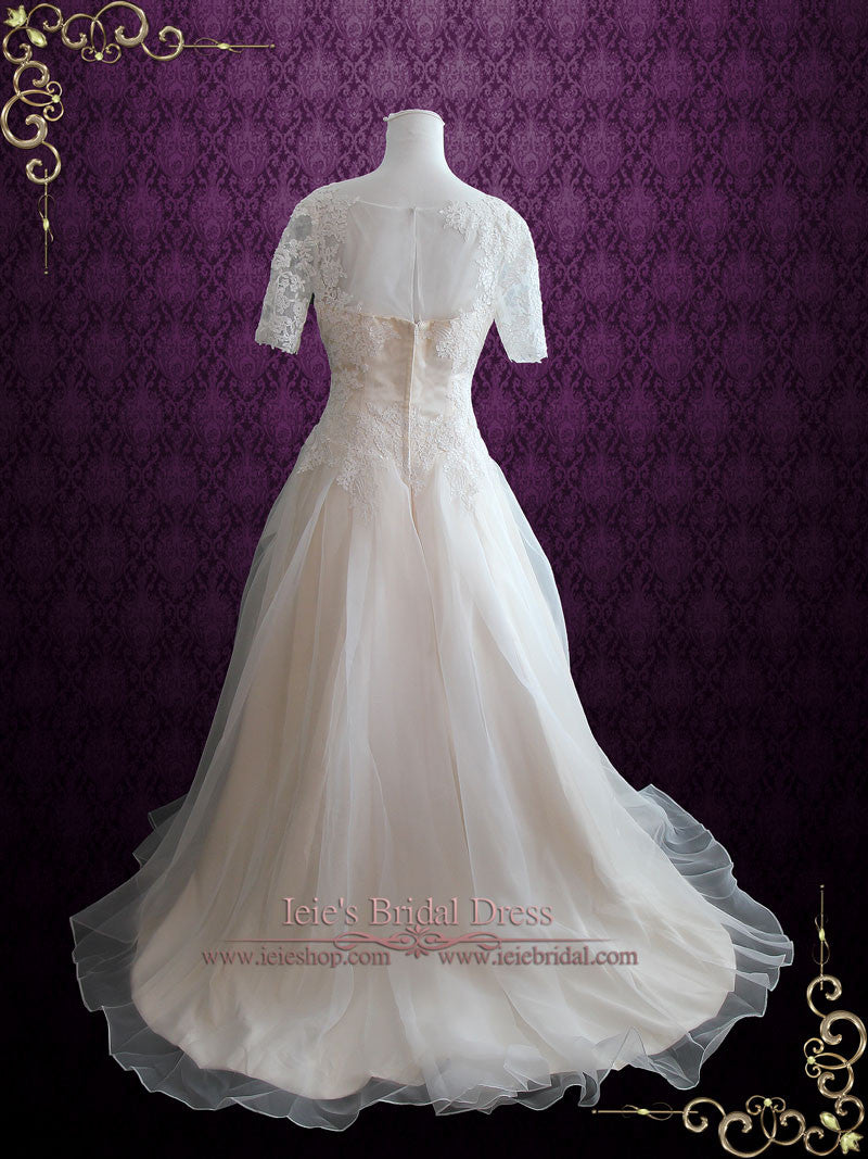 Organza Lace Ball Gown Wedding Dress with Short Sleeves | Erika – ieie