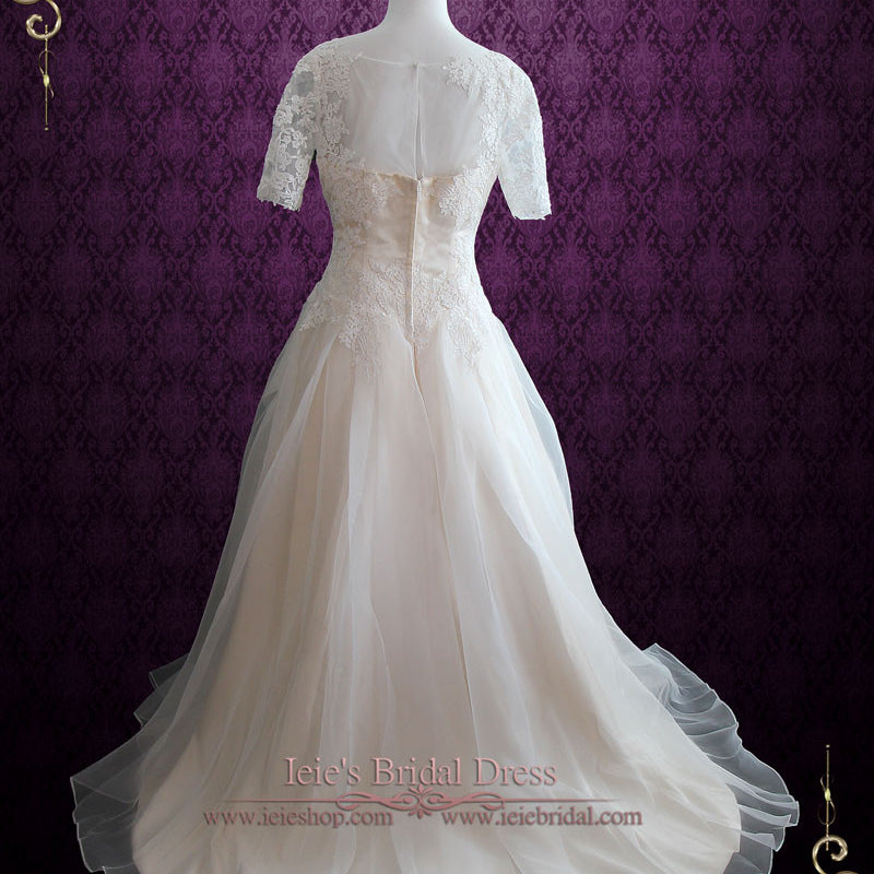 Organza Lace Ball Gown Wedding Dress With Short Sleeves Erika Ieie