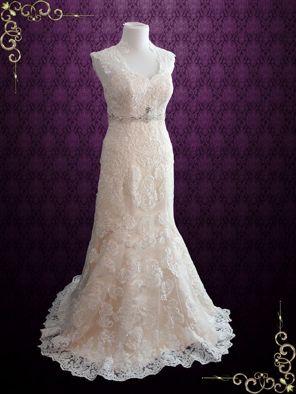 Vintage Style Champagne Lace Mermaid Wedding Dress with Keyhole Back | Brendina