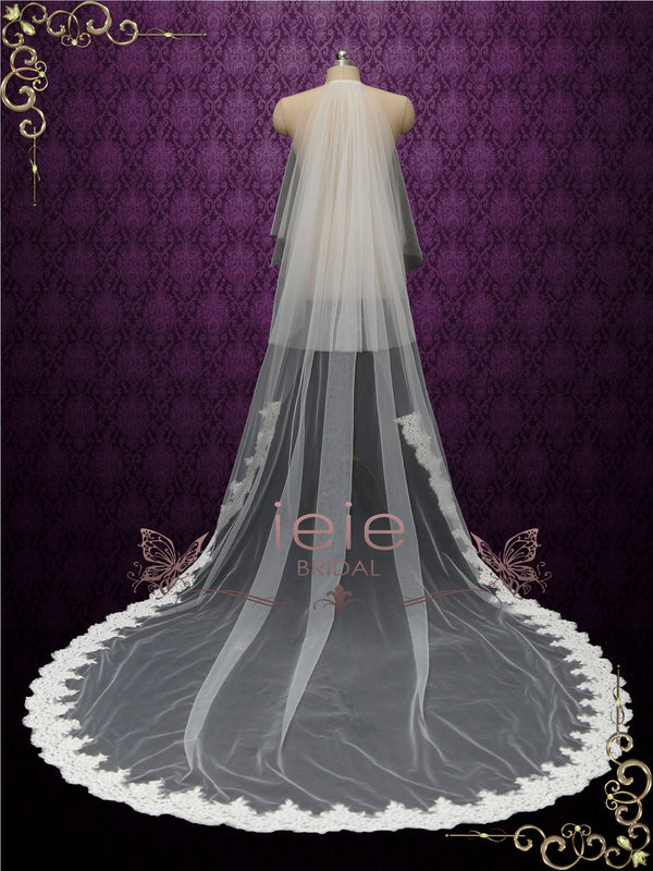 chapel length wedding veil with lace from midway and blusher