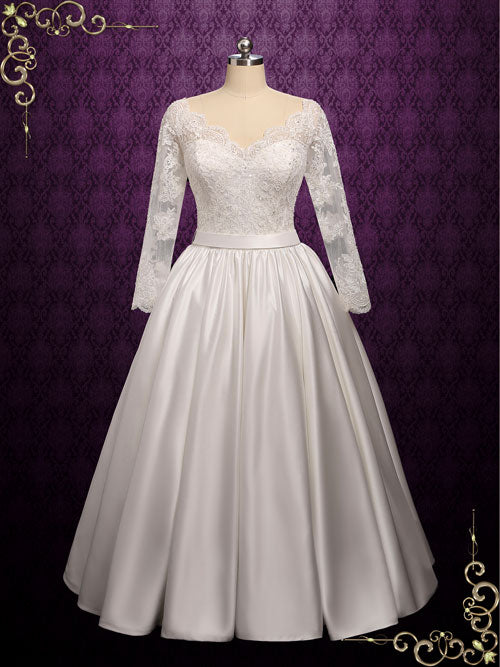 Lace Ball Gown Wedding Dress with Wide V Neck | Cassidy