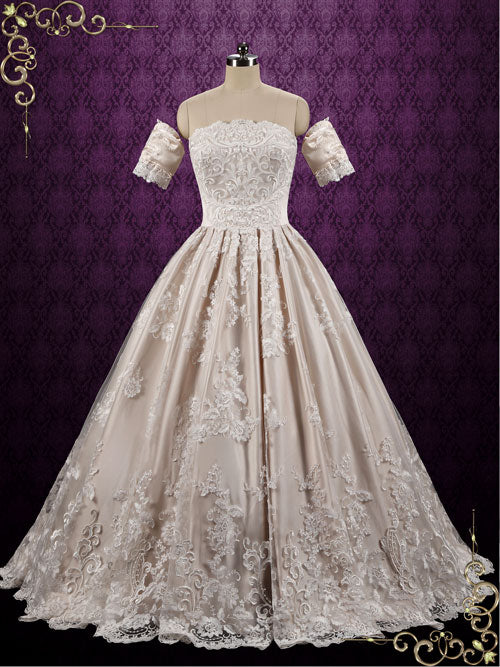 Classic Lace Ball Gown Wedding Dress with Detached Sleeves | Gaelle ...
