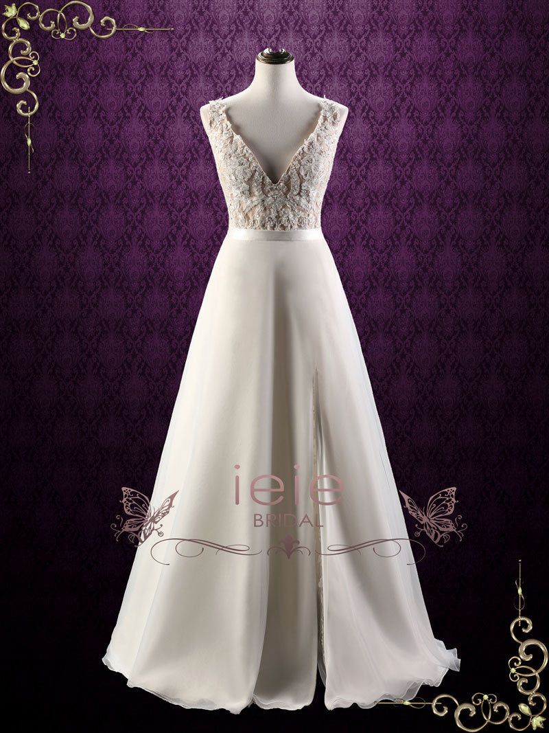 Convertible Lace Wedding Dress With Detachable Skirt