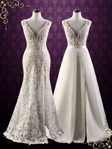 Convertible wedding dress ieie bridal convertible lace wedding dress with detachable skirt arina junglespirit Image collections