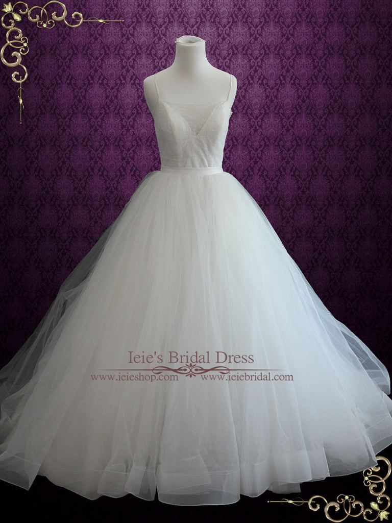 Simple 2 Piece Convertible Ball Gown Wedding Dress With Detachable Tul